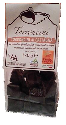 Immagine di Torroncini alla castagna ricoperti di cioccolata 170 g