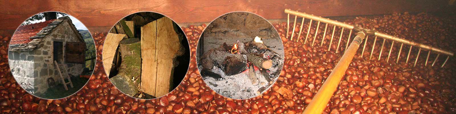 Essiccazione delle castagne in Metato a legna